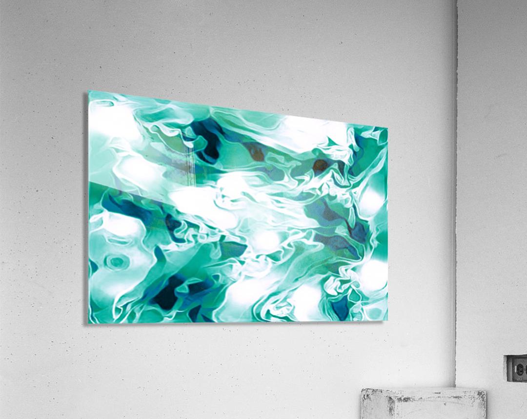 Mint Chocolate Chip Ice Cream - turquoise white blue black swirls large abstract wall art  Acrylic Print