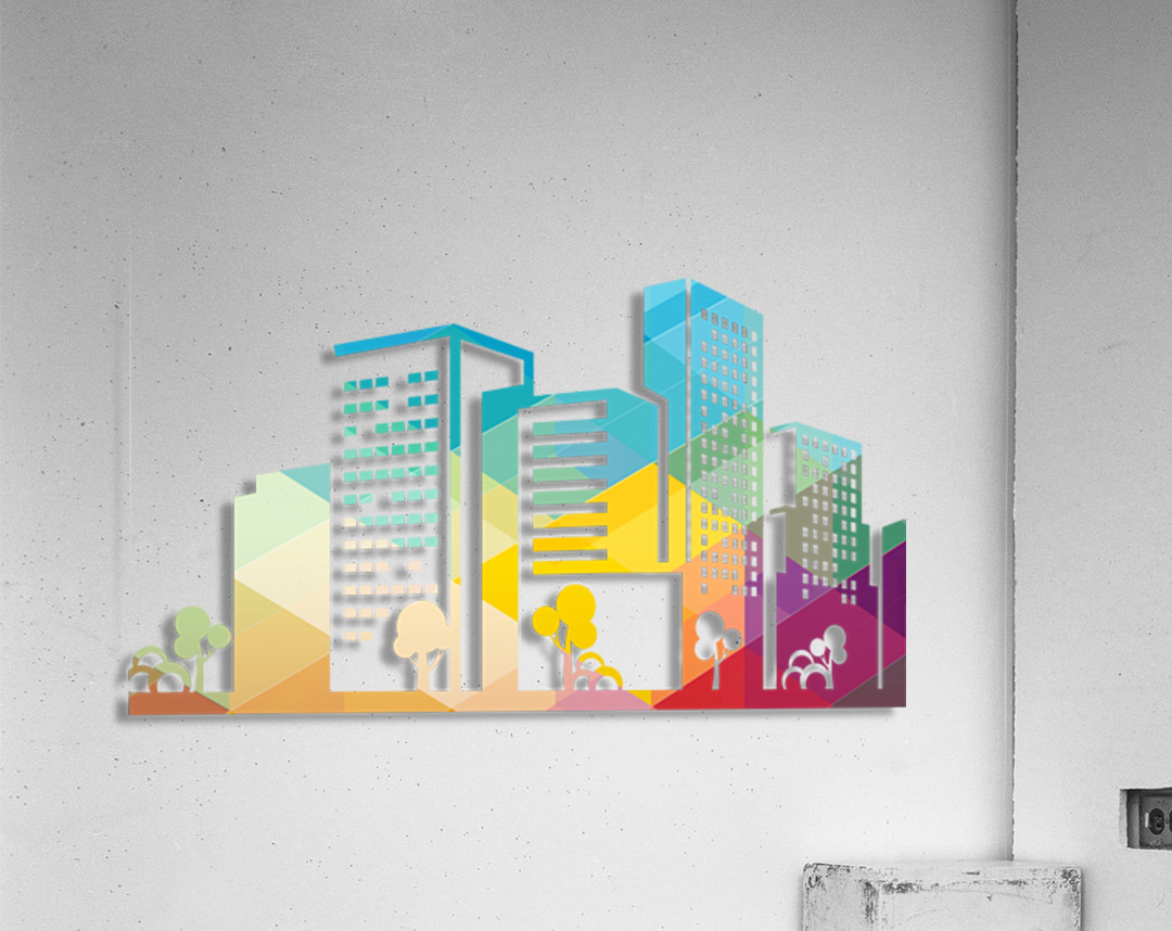 silhouette cityscape building icon color city  Acrylic Print