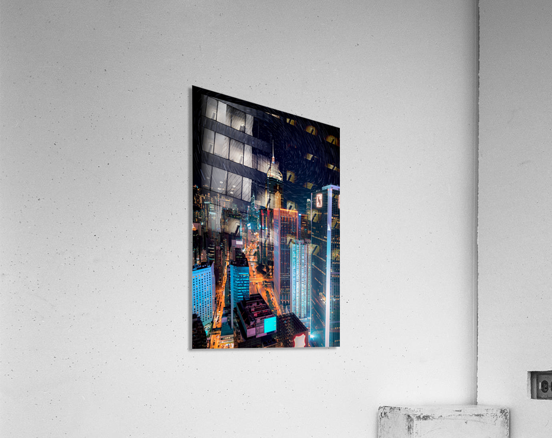 high rise buildings with lights  Acrylic Print