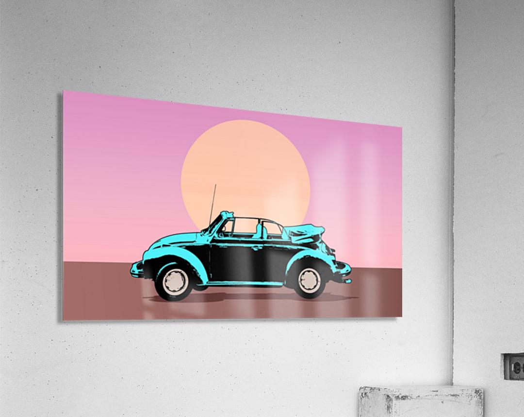 car poster retro vintage landscape  Acrylic Print