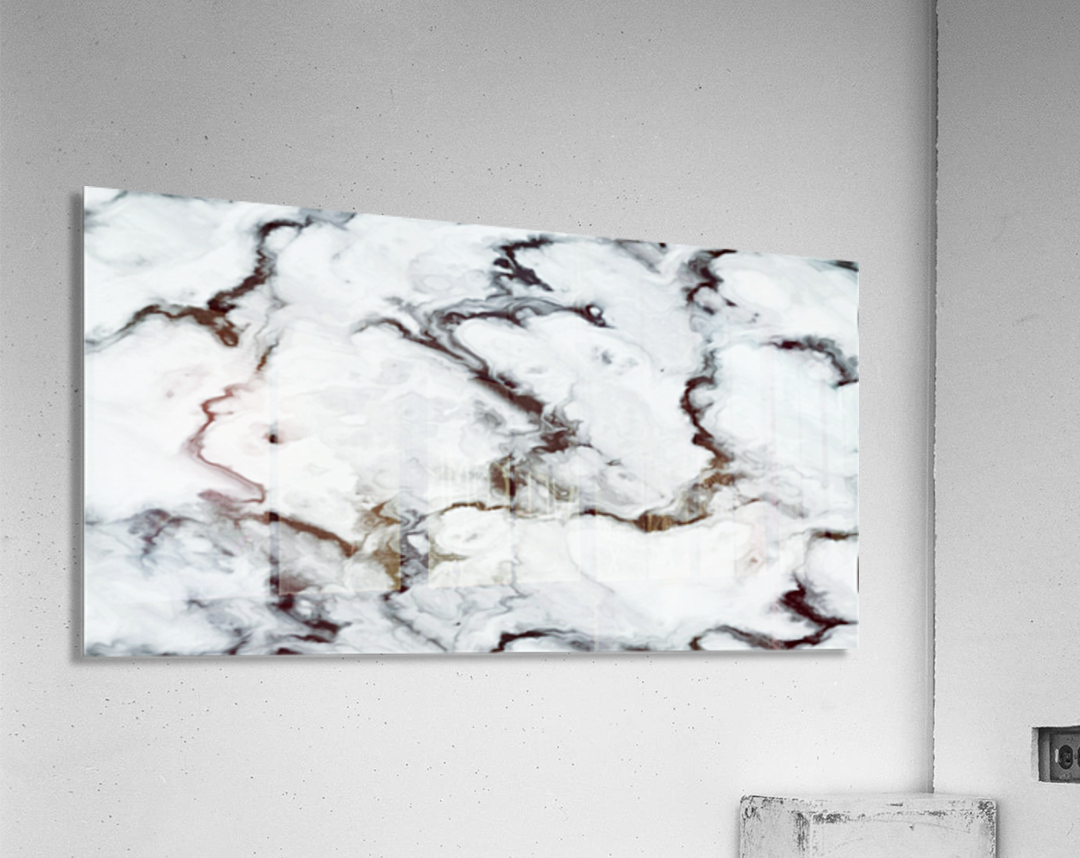 True White Marble - panoramic abstract wall art  Acrylic Print
