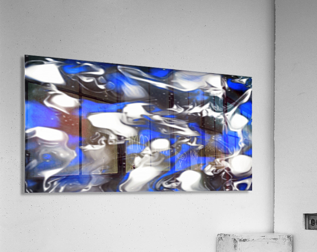 Booster - blue white black silver spots swirls abstract wall art  Acrylic Print
