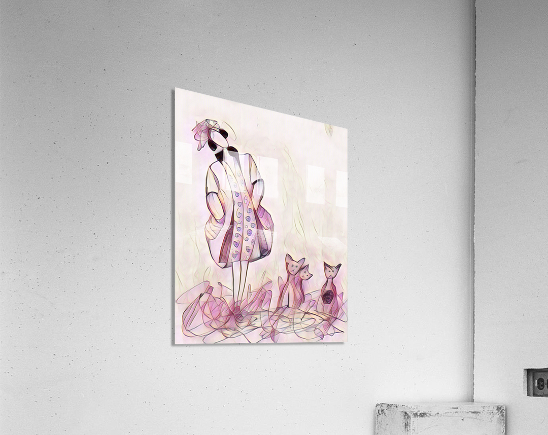 La ricaneuse et ses chat  Acrylic Print