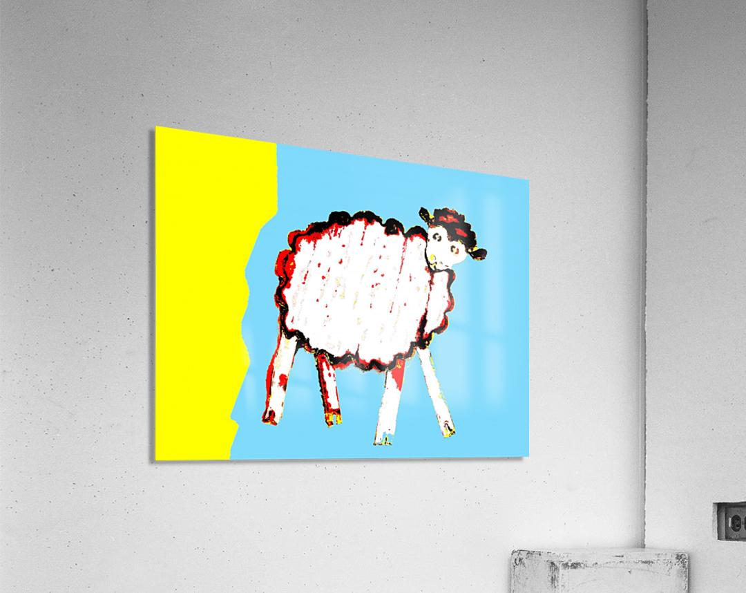 Little Aussie Sheep - Blue  Acrylic Print