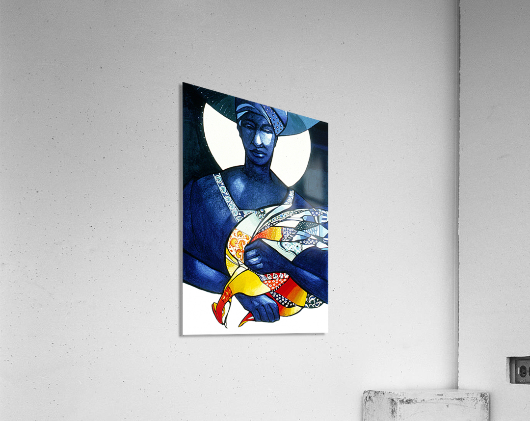 Blue Woman with a bird  Impression acrylique