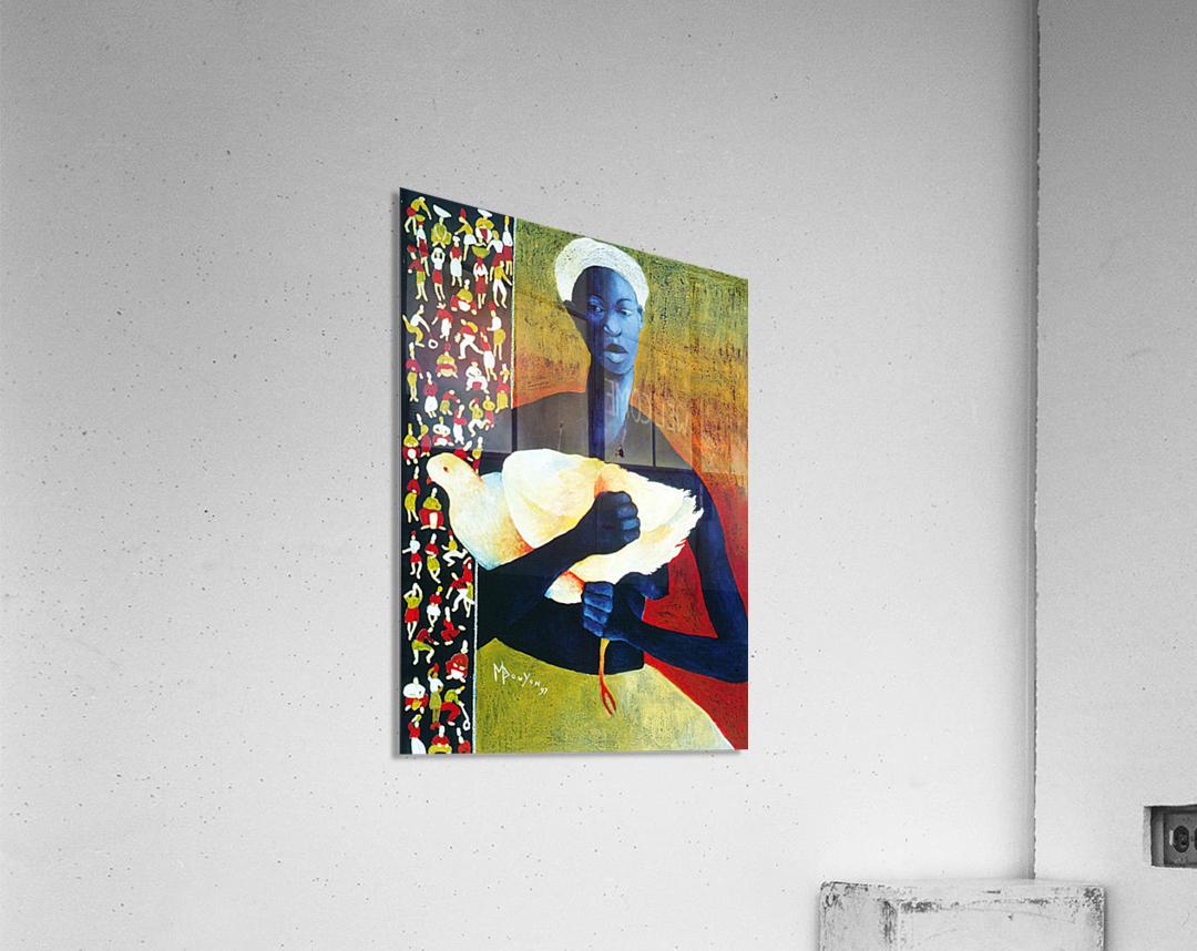 Femme à loiseau blanc  Impression acrylique