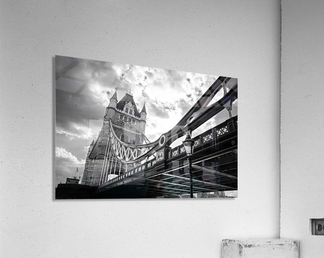 The Might of Tower Bridge Black and White  Acrylic Print