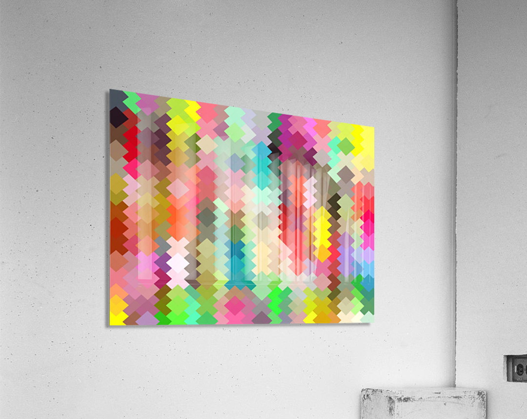 geometric square pixel pattern abstract in red blue green yellow  Acrylic Print