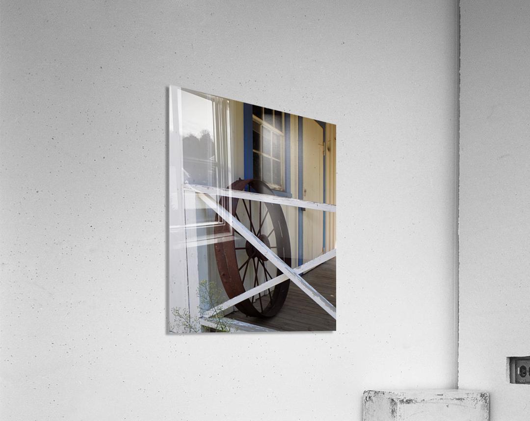 Wagon Wheel on Porch  Acrylic Print