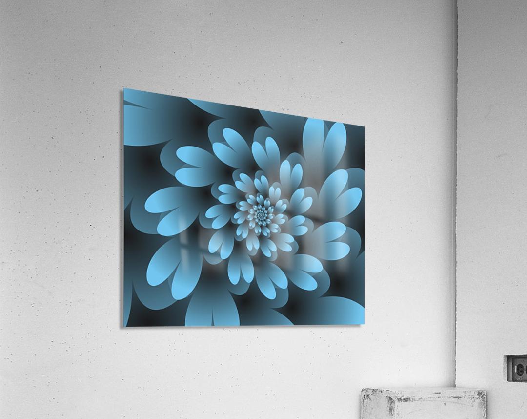Blue Floral Satin Wallpaper  Acrylic Print