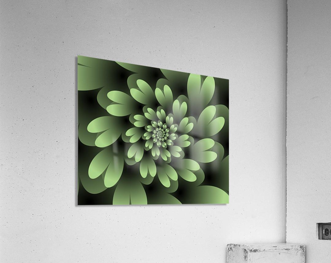 Green Floral Satin Wallpaper  Acrylic Print