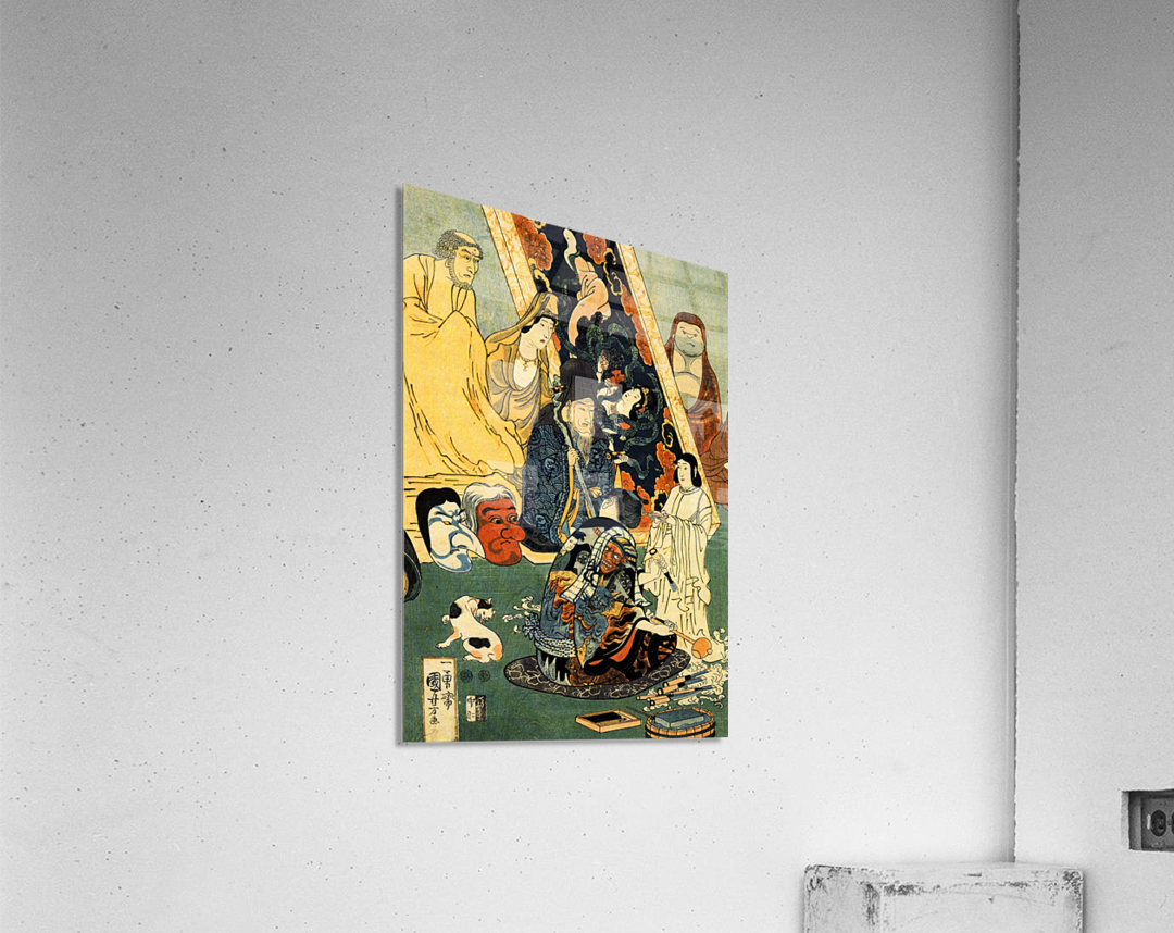 Sculptor Jingoro surrounded by statues  Acrylic Print