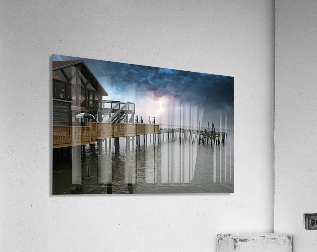 Lightning over Pier  Acrylic Print