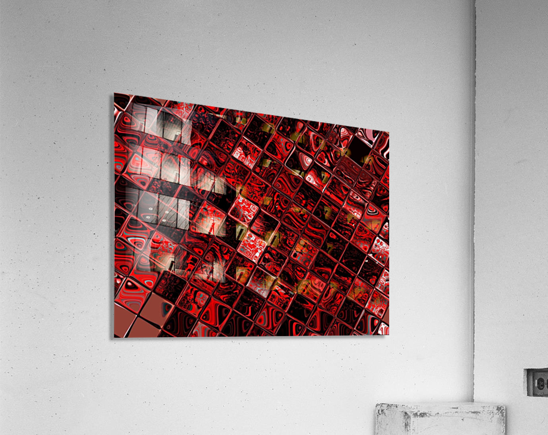 Red Glass Tiles 3  Acrylic Print