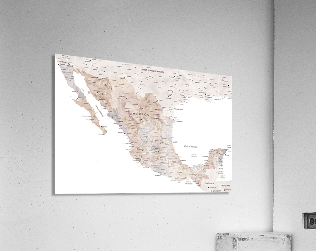 Detailed map of Mexico in neutral watercolor  Acrylic Print