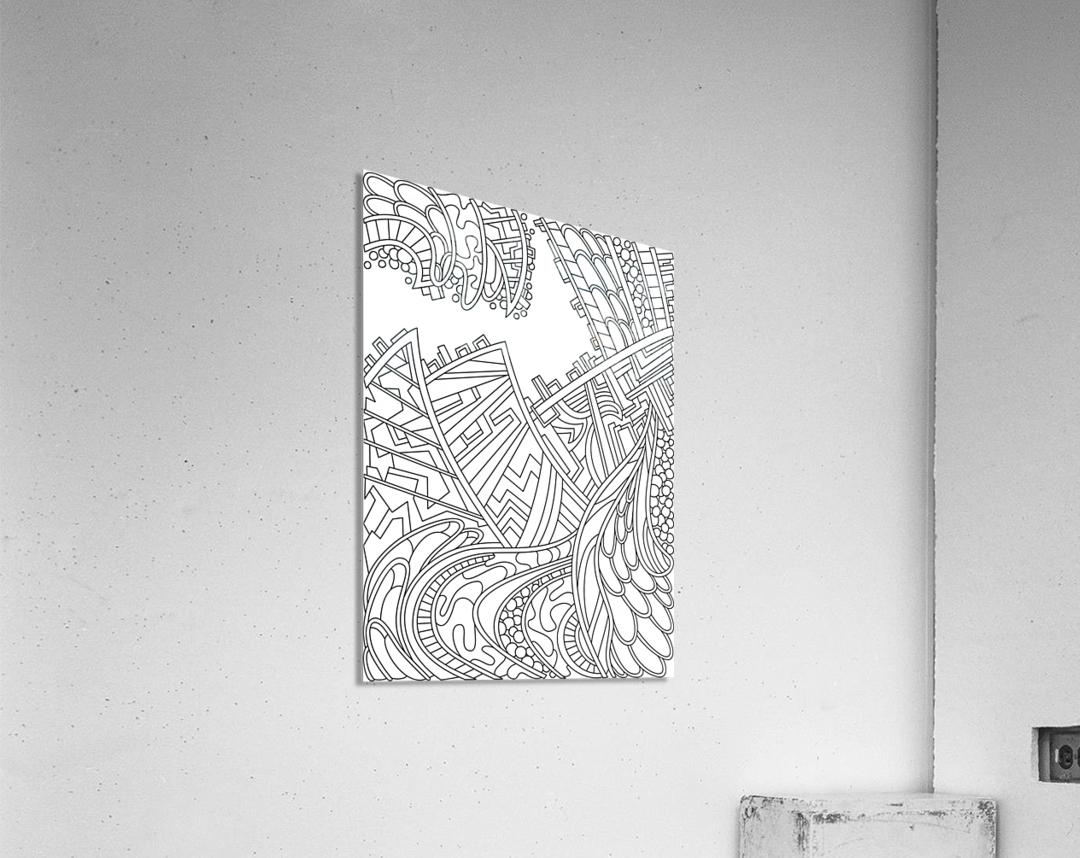 Wandering Abstract Line Art 01: Black & White  Acrylic Print