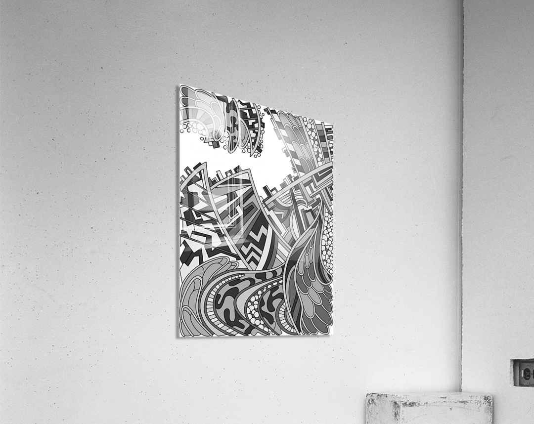 Wandering Abstract Line Art 01: Grayscale  Acrylic Print