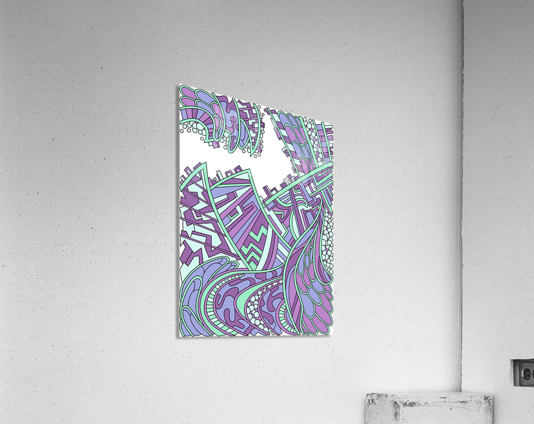 Wandering Abstract Line Art 01: Purple  Acrylic Print