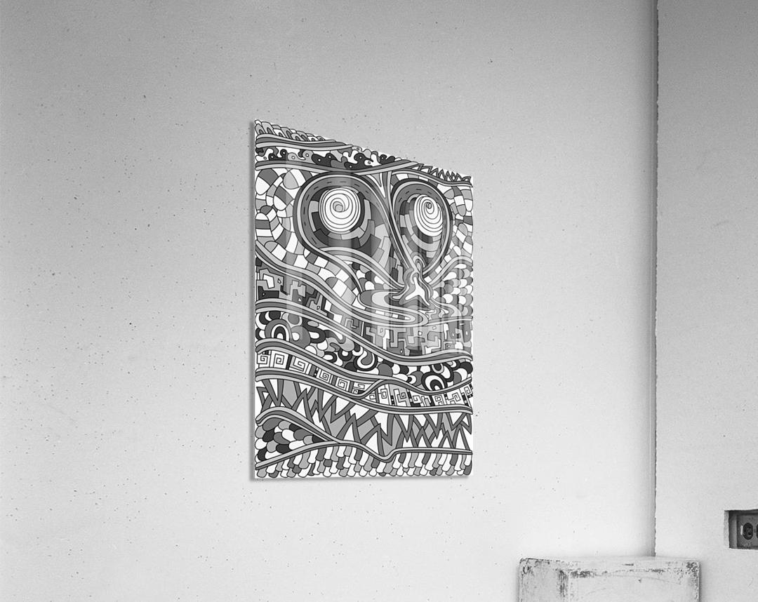 Wandering Abstract Line Art 03: Grayscale  Acrylic Print