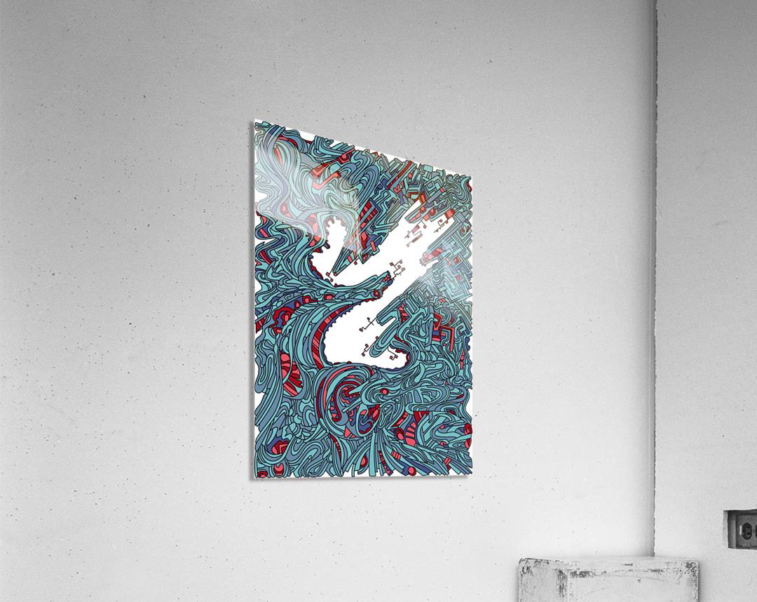 Wandering Abstract Line Art 05: Blue  Acrylic Print