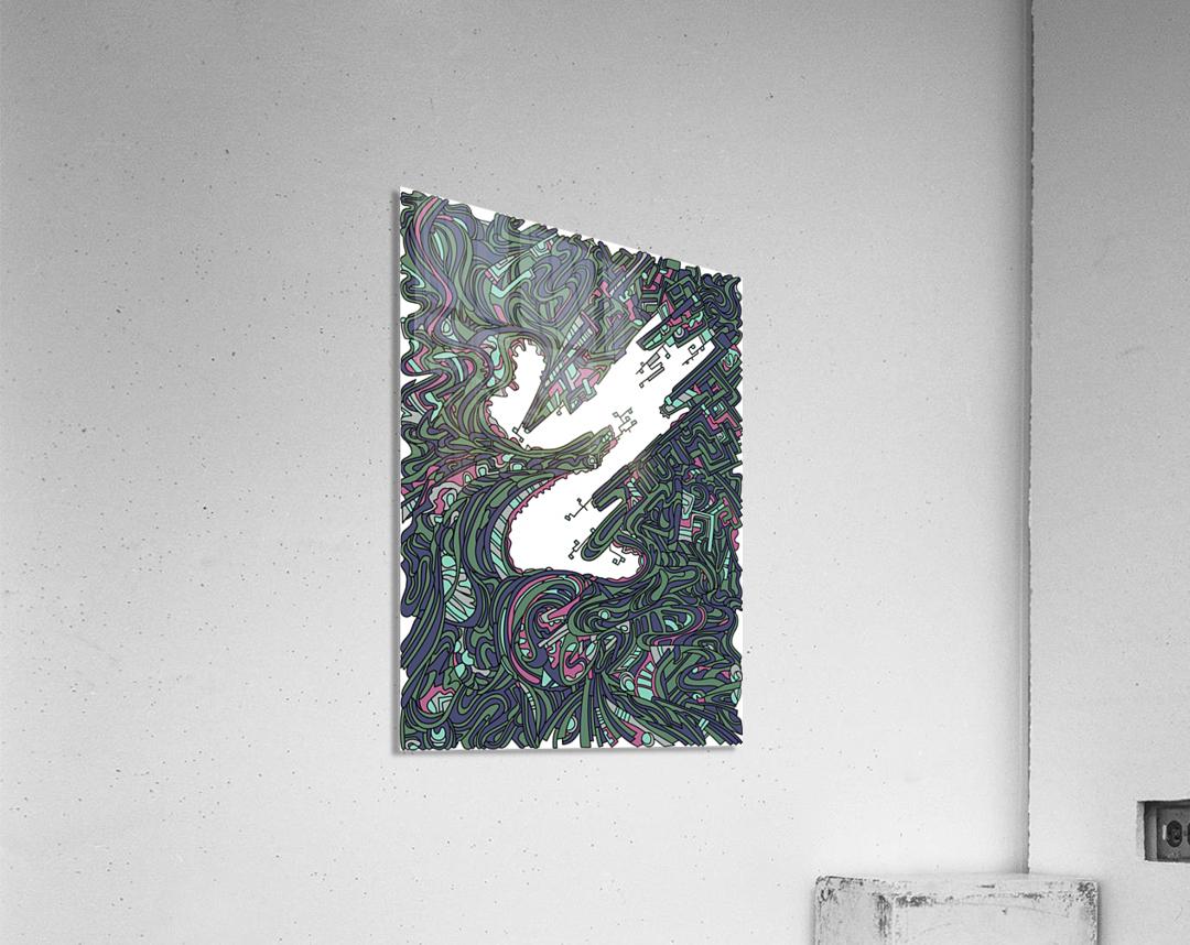 Wandering Abstract Line Art 05: Green  Acrylic Print