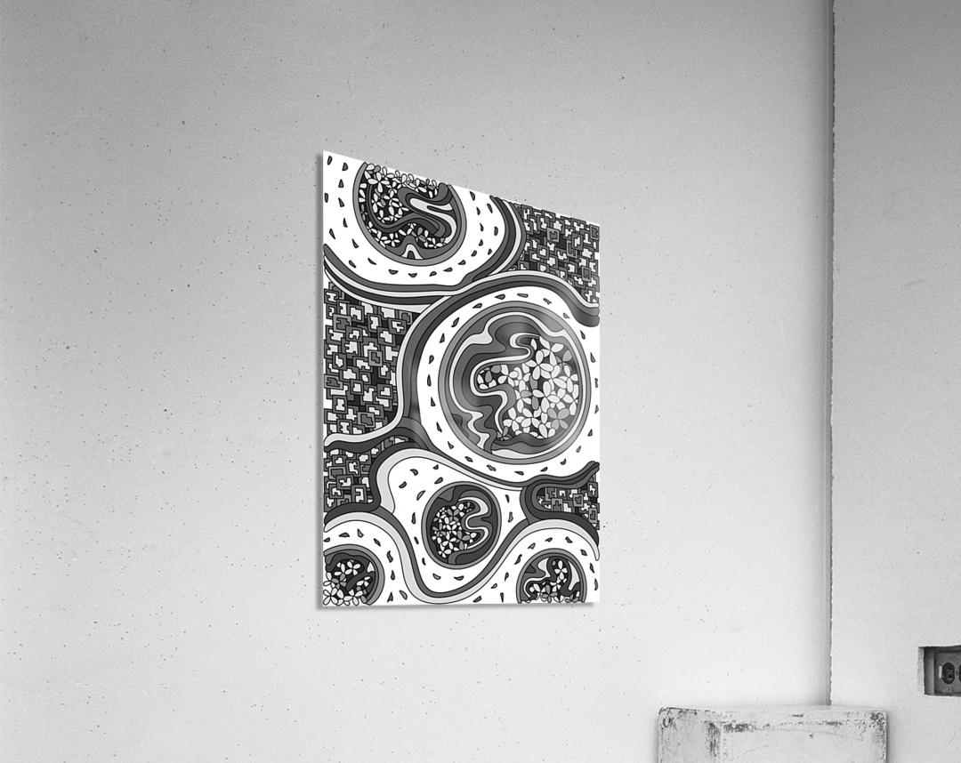 Wandering Abstract Line Art 06: Grayscale  Acrylic Print