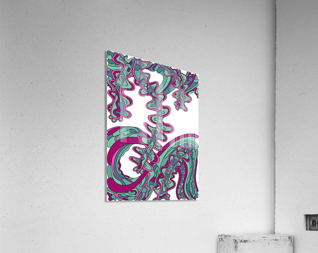 Wandering Abstract Line Art 07: Green  Acrylic Print