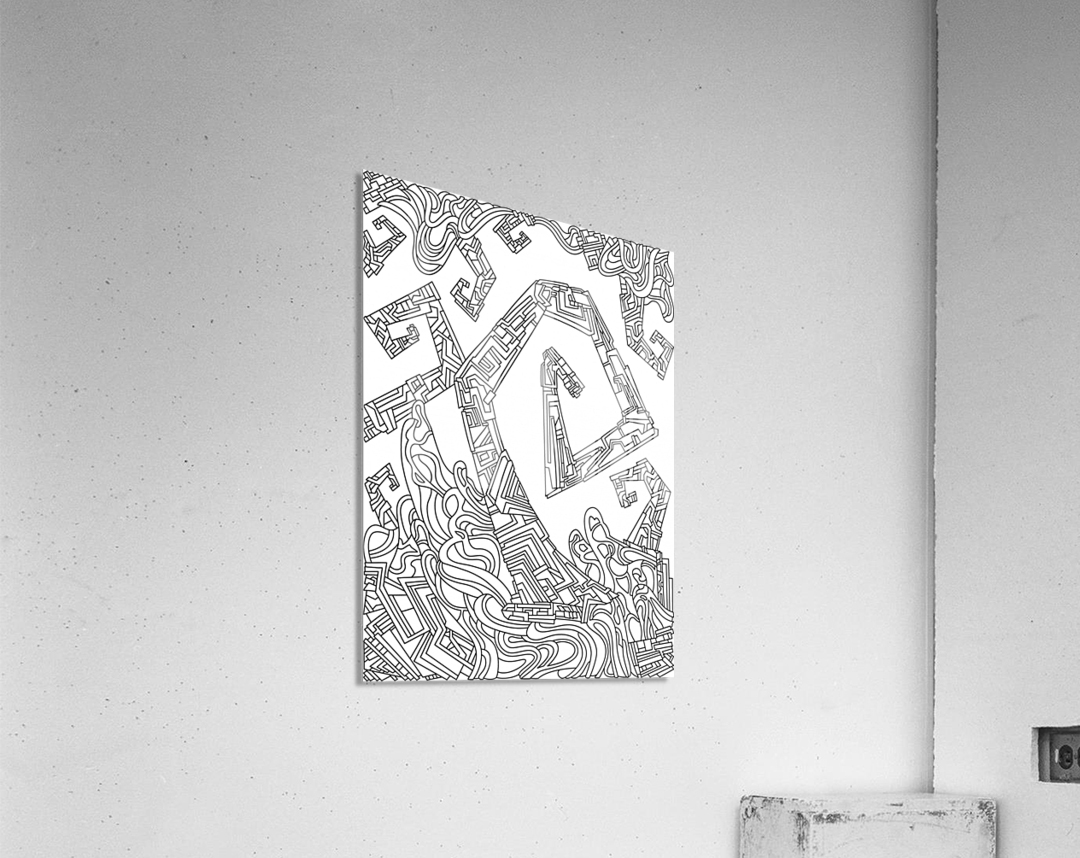 Wandering Abstract Line Art 08: Black & White  Acrylic Print