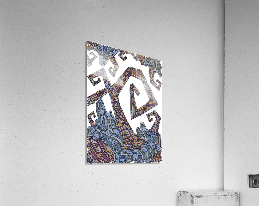 Wandering Abstract Line Art 08: Yellow  Acrylic Print
