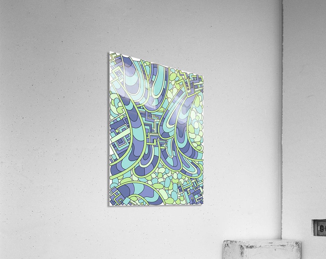 Wandering Abstract Line Art 09: Green  Acrylic Print
