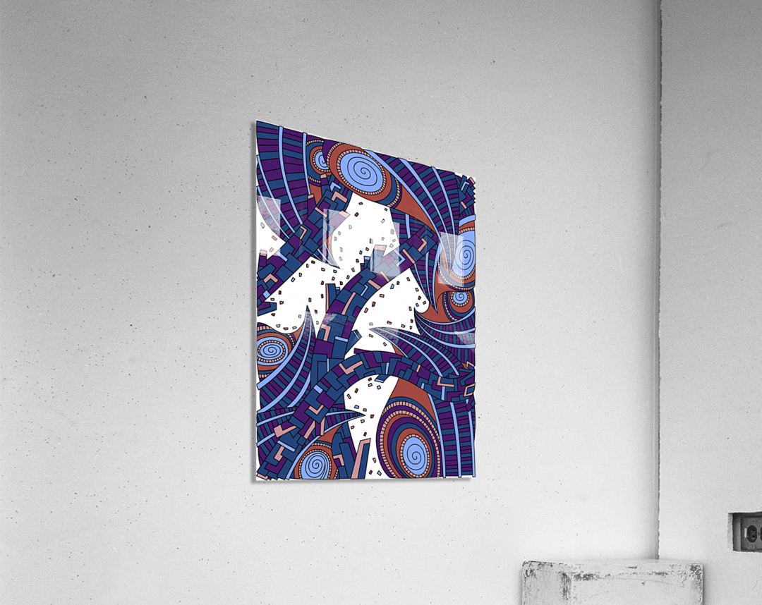 Wandering Abstract Line Art 10: Orange  Acrylic Print