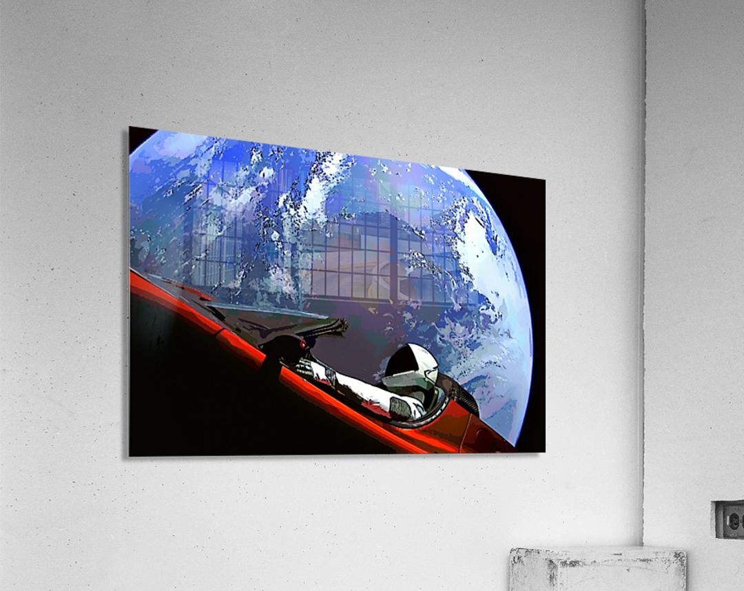 StarMan in Tesla Above Planet Earth  Acrylic Print