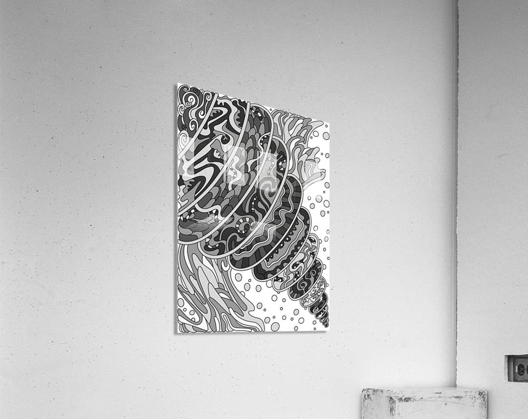 Wandering Abstract Line Art 11: Grayscale  Acrylic Print