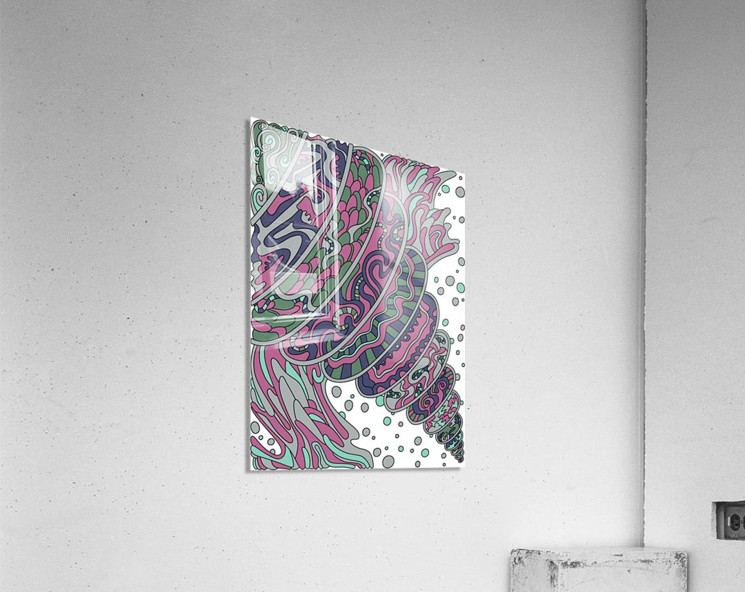Wandering Abstract Line Art 11: Pink  Acrylic Print