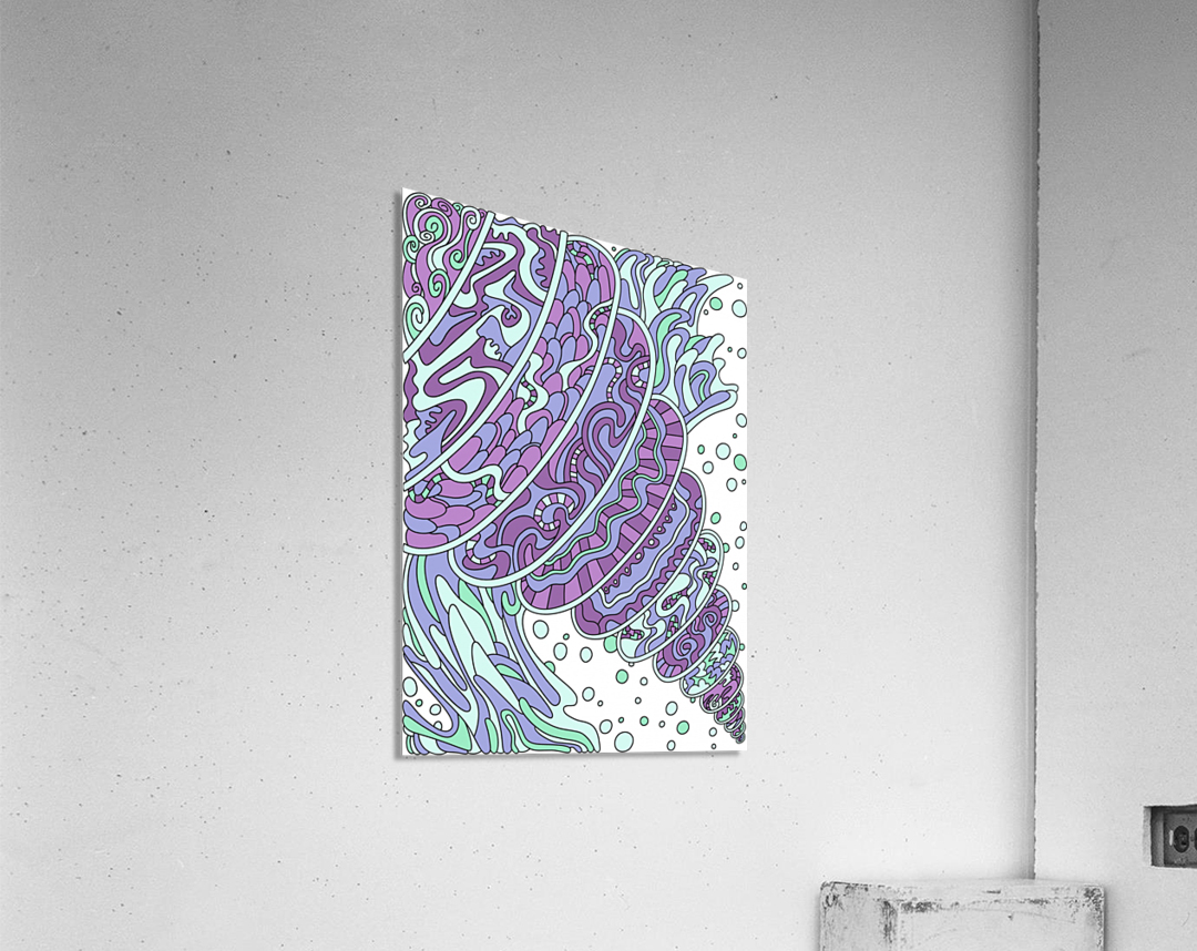 Wandering Abstract Line Art 11: Purple  Acrylic Print