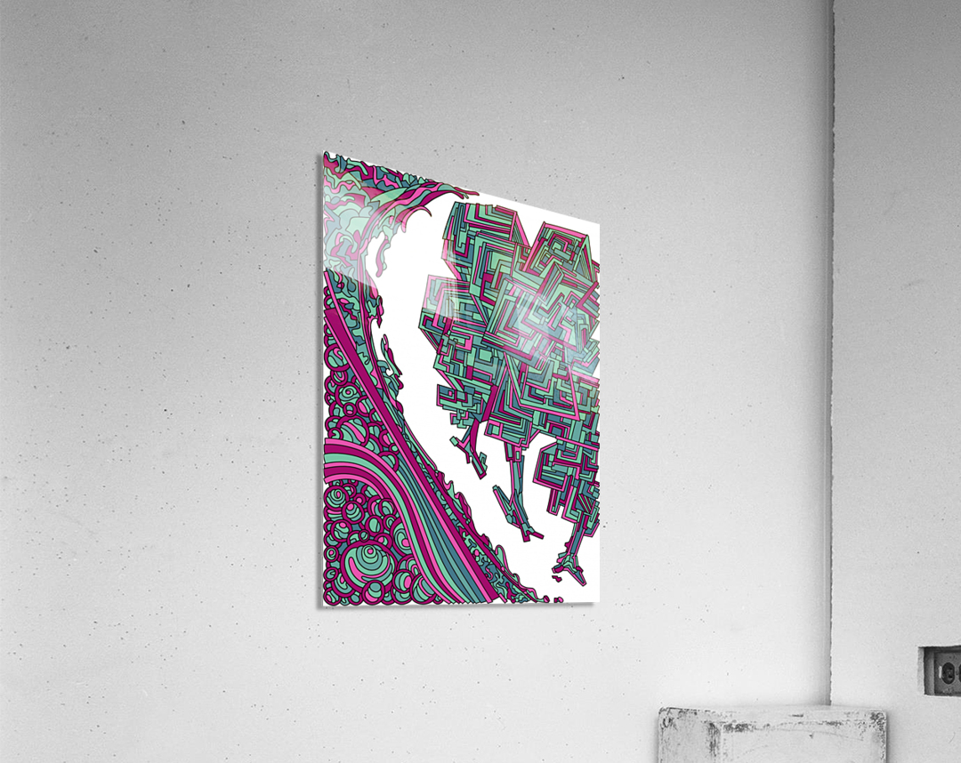 Wandering Abstract Line Art 12: Magenta  Acrylic Print