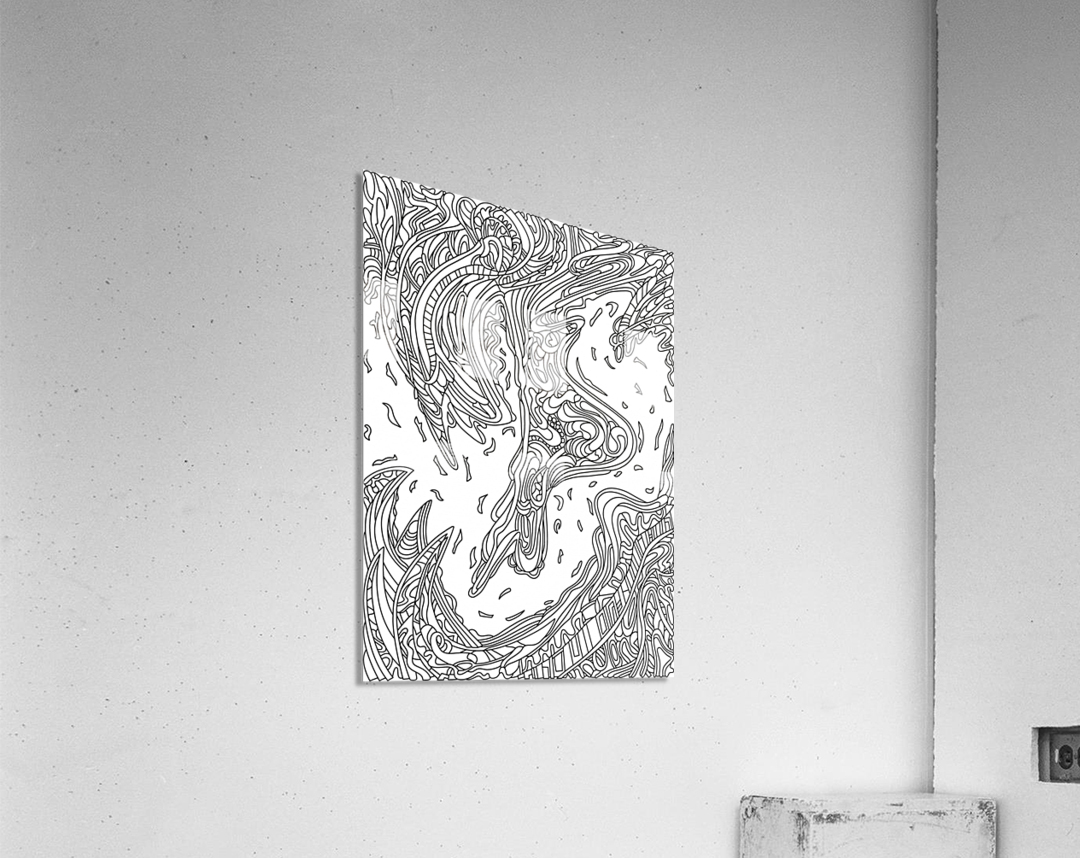 Wandering Abstract Line Art 14: Black & White  Acrylic Print