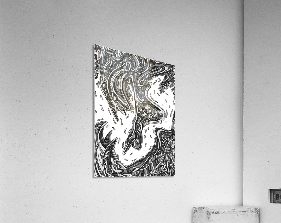 Wandering Abstract Line Art 14: Grayscale  Acrylic Print