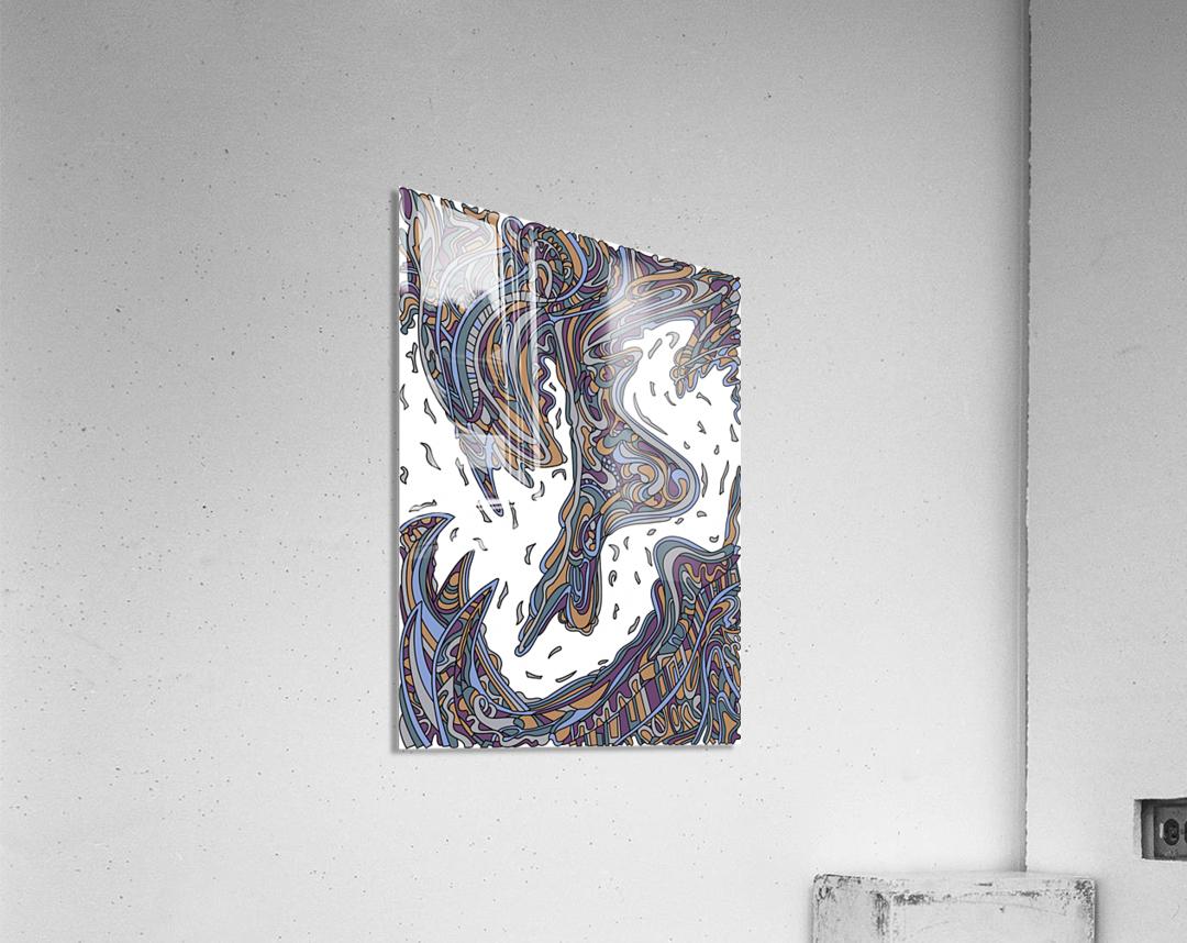 Wandering Abstract Line Art 14: Yellow  Acrylic Print