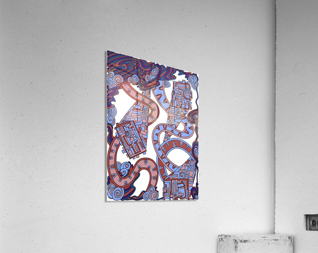 Wandering Abstract Line Art 24: Orange  Acrylic Print