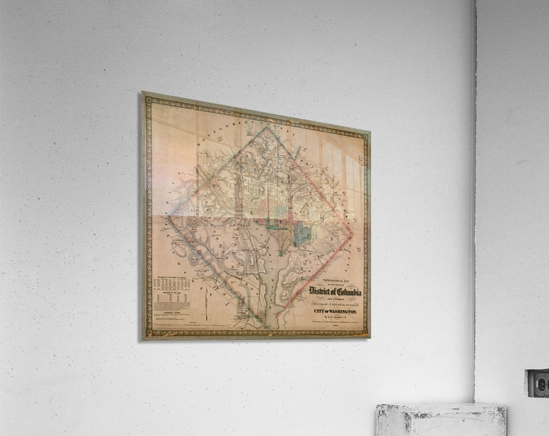 19th Century District of Columbia Map 1862  Acrylic Print
