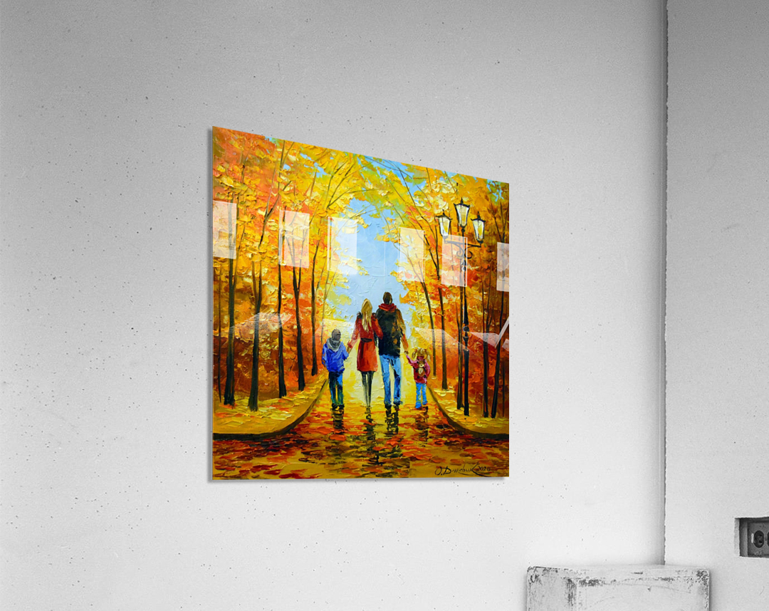 Walk with the whole family in the autumn Park  Acrylic Print