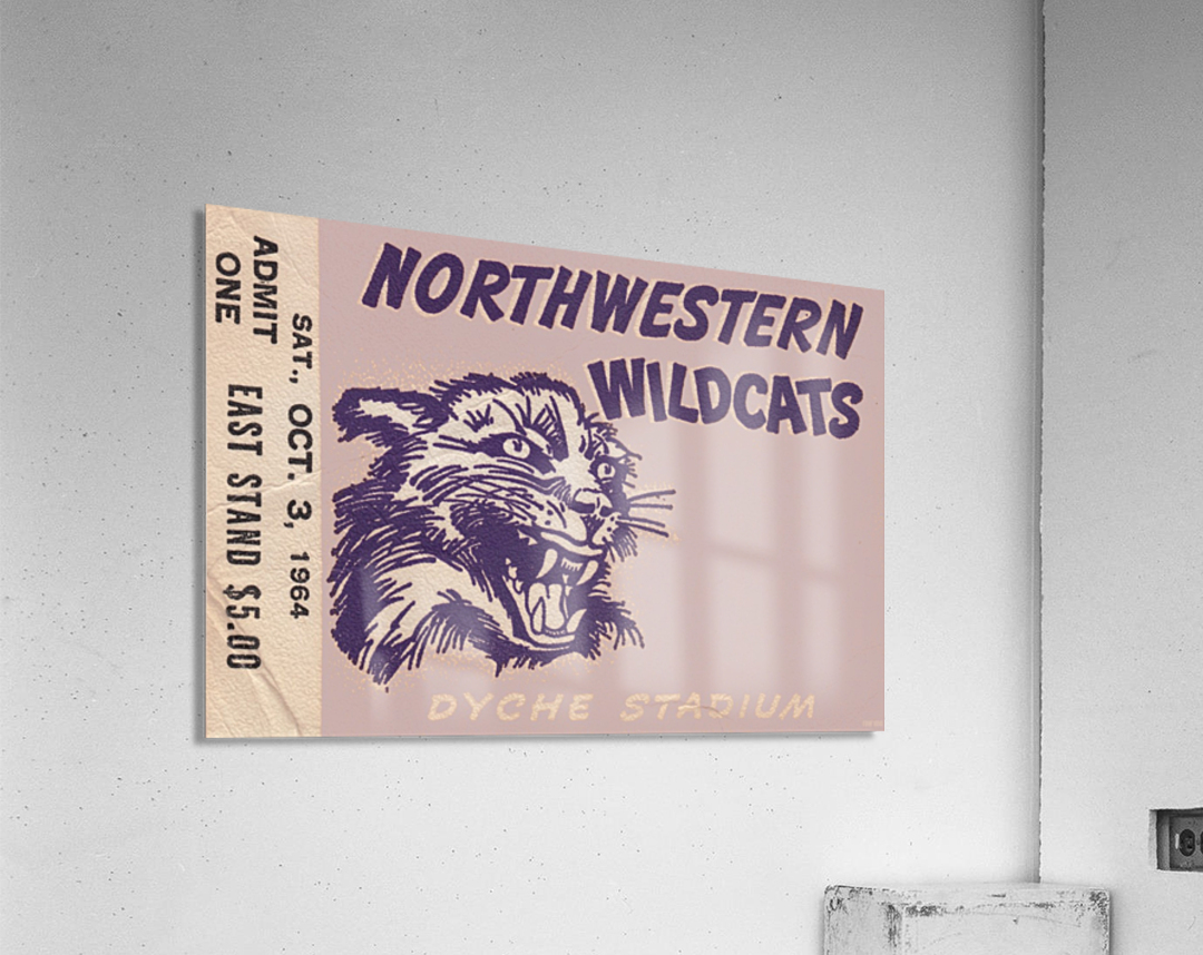Northwestern University Wildcats College Football Wall Art Ticket Stub  Acrylic Print