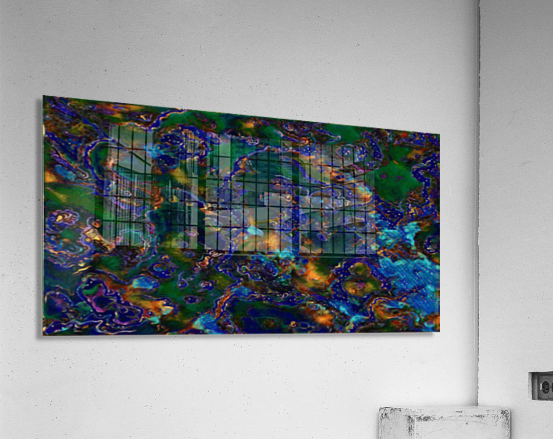 Comet Fire Multicolor Blue Green Gold Marble Abstract Wall Art Jaycrave Designs