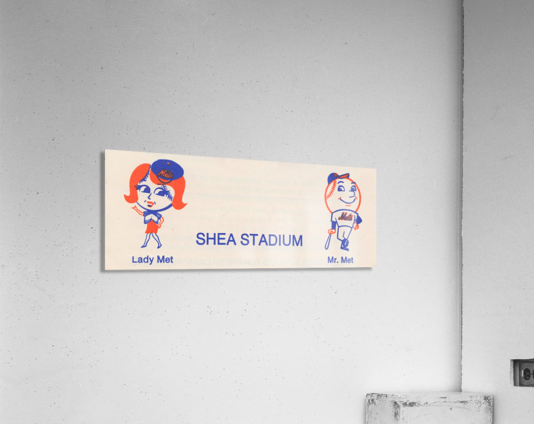 1977 new york mets art reproduction shea stadium retro baseball artwork row one brand  Acrylic Print