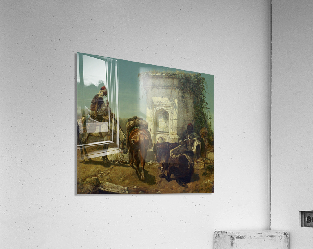 Arabs resting by a marble fountain  Acrylic Print