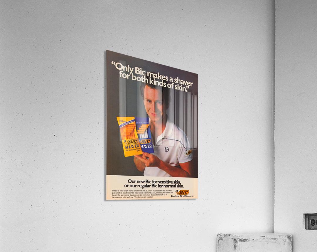 row one vintage sports ads retro bic shaver john mcenroe tennis poster  Acrylic Print