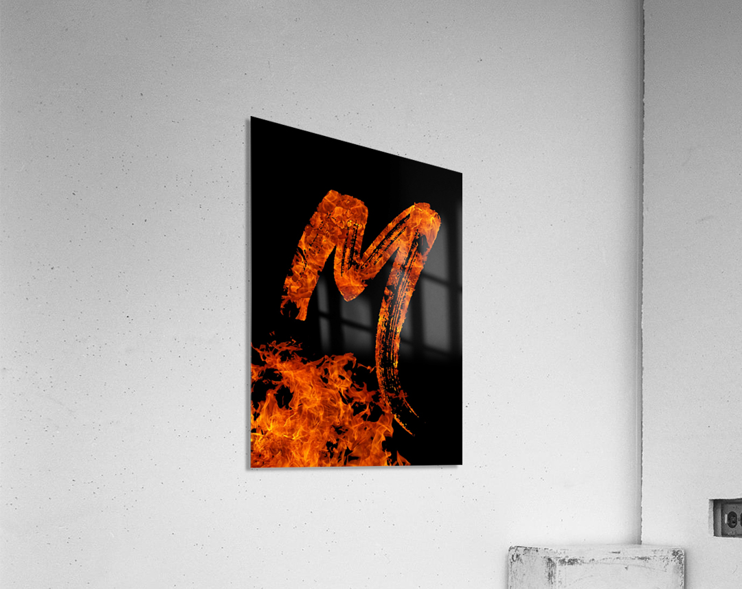 Burning on Fire Letter M  Acrylic Print