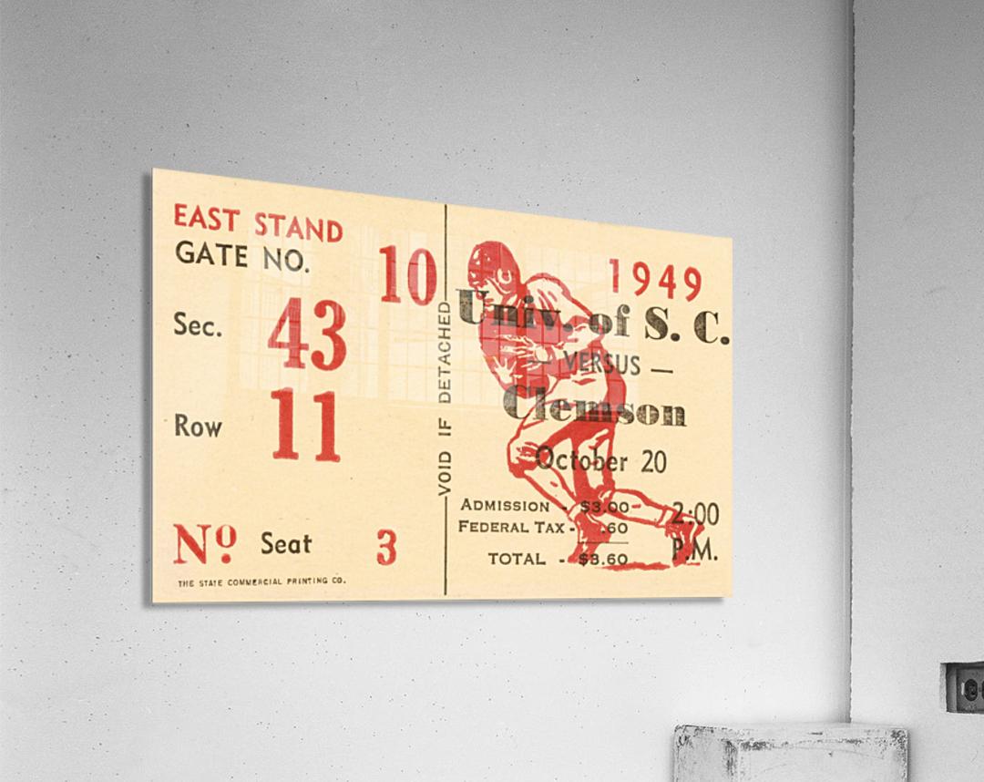 1949 south carolina gamecocks palmetto bowl ticket stub wall art metal sign wood prints  Acrylic Print