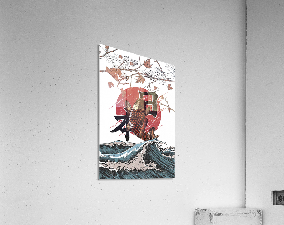 Koi fish fly waves  Acrylic Print